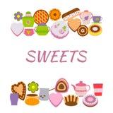 Έμβλημα με τα γλυκά πέρα από το λευκό ελεύθερη απεικόνιση δικαιώματος