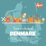 Έμβλημα με τα δανικά σύμβολα, διάσημες θέσεις ελεύθερη απεικόνιση δικαιώματος