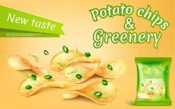 έμβλημα με τα τσιπ πατατών και την πρασινάδα στοκ φωτογραφίες