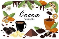 Έμβλημα με την έξοχη συλλογή κακάου τροφίμων Λοβός, φασόλια, βούτυρο κακάου, ποτό κακάου, σοκολάτα, ποτό κακάου, παφλασμός, και σ Στοκ Εικόνες