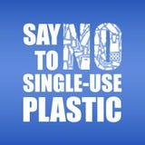 Πέστε το αριθ. στο μιας χρήσης πλαστικό Πλαστική ρύπανση προβλήματος Οικολογική αφίσα Έμβλημα με το κείμενο και ΚΑΝΕΝΑ που αποτελ απεικόνιση αποθεμάτων