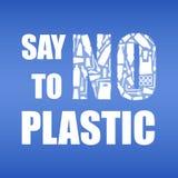 Πέστε το αριθ. στο πλαστικό Πλαστική ρύπανση προβλήματος Οικολογική αφίσα Έμβλημα με το κείμενο και ΚΑΝΕΝΑ που αποτελείται από τη διανυσματική απεικόνιση