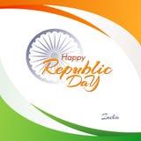 Έμβλημα με το κείμενο της ημέρας Δημοκρατίας στο αφηρημένο υπόβαθρο της Ινδίας με τις ρέοντας γραμμές χρωμάτων της εθνικής σημαία απεικόνιση αποθεμάτων