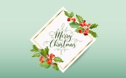 Έμβλημα μούρων της χειμερινής Holly Χριστουγέννων, γραφικό υπόβαθρο, πρόσκληση Δεκεμβρίου, ιπτάμενο ή κάρτα διανυσματική απεικόνιση