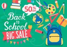 Έμβλημα πίσω στη σχολική μεγάλη πώληση, 50 τοις εκατό μακριά διανυσματική απεικόνιση