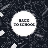 Έμβλημα πίσω στο σχολείο με μια εικόνα των σχολικών προμηθειών σε έναν πίνακα κιμωλίας διανυσματική απεικόνιση