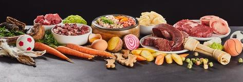 Έμβλημα πανοράματος με τα ανάμεικτα φρέσκα τρόφιμα για το barf στοκ φωτογραφία