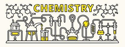 Έμβλημα πειράματος χημείας, ύφος περιλήψεων διανυσματική απεικόνιση