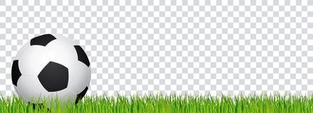 Έμβλημα ποδοσφαίρου Χλόη γηπέδου ποδοσφαίρου και διαφανές υπόβαθρο Επιγραφή με τη σφαίρα ποδοσφαίρου στη αριστερή πλευρά διανυσματική απεικόνιση