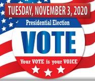 Έμβλημα προεδρικών εκλογών ψηφοφορίας το 2020 με τη αμερικανική σημαία απεικόνιση αποθεμάτων