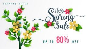 Έμβλημα πώλησης άνοιξη με τα λουλούδια, το φύλλο και το ζωηρόχρωμο υπόβαθρο στοκ εικόνα με δικαίωμα ελεύθερης χρήσης
