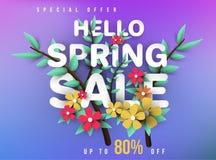 Έμβλημα πώλησης άνοιξη με τα λουλούδια, το φύλλο και το ζωηρόχρωμο υπόβαθρο στοκ φωτογραφία με δικαίωμα ελεύθερης χρήσης