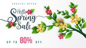 Έμβλημα πώλησης άνοιξη με τα λουλούδια, το φύλλο και το ζωηρόχρωμο υπόβαθρο στοκ εικόνες