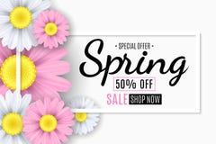 Έμβλημα πώλησης άνοιξη Τετραγωνικό άσπρο πλαίσιο Ρόδινα και άσπρα λουλούδια chamomile Εποχιακό ιπτάμενο Ειδική προσφορά επίσης co απεικόνιση αποθεμάτων