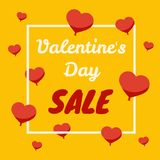 Έμβλημα πώλησης ημέρας βαλεντίνων με τις καρδιές baloon απεικόνιση αποθεμάτων