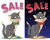 Έμβλημα πώλησης με την αστεία γάτα σε έναν δεσμό τόξων Στοκ φωτογραφίες με δικαίωμα ελεύθερης χρήσης