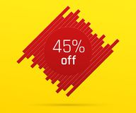 Έμβλημα πώλησης με 45 τοις εκατό μακριά Στοκ φωτογραφίες με δικαίωμα ελεύθερης χρήσης