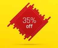 Έμβλημα πώλησης με 35 τοις εκατό μακριά Στοκ φωτογραφία με δικαίωμα ελεύθερης χρήσης