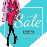 Έμβλημα πώλησης μόδας με τη σκιαγραφία μόδας γυναικών, πρότυπο Ιστού αγγελιών μέσων on-line αγορών κοινωνικό με το όμορφο κορίτσι Στοκ Εικόνα