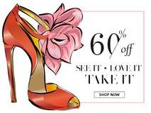 Έμβλημα πώλησης παπουτσιών μόδας, πρότυπο Ιστού αγγελιών μέσων on-line αγορών κοινωνικό με τα όμορφα τακούνια επίσης corel σύρετε Στοκ φωτογραφία με δικαίωμα ελεύθερης χρήσης