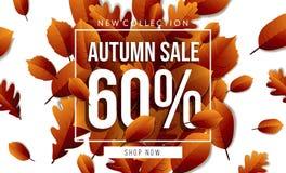 Έμβλημα πώλησης φθινοπώρου με την εγγραφή στοκ εικόνες