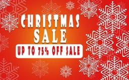 Έμβλημα πώλησης Χριστουγέννων για το βιβλιάριο 75%, ιπτάμενο διακοπών, αφίσα, λογότυπο διαφήμισης, φυλλάδιο για το σχέδιο προτύπω Στοκ εικόνες με δικαίωμα ελεύθερης χρήσης