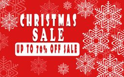 Έμβλημα πώλησης Χριστουγέννων για το βιβλιάριο 70%, ιπτάμενο διακοπών, αφίσα, λογότυπο διαφήμισης, φυλλάδιο για το σχέδιο προτύπω Στοκ Εικόνες