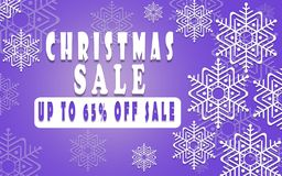 Έμβλημα πώλησης Χριστουγέννων για το βιβλιάριο 65%, ιπτάμενο διακοπών, αφίσα, λογότυπο διαφήμισης, φυλλάδιο για το σχέδιο προτύπω Στοκ Φωτογραφία