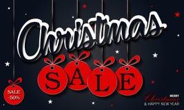 Έμβλημα πώλησης Χριστουγέννων, καλή χρονιά στοκ φωτογραφίες