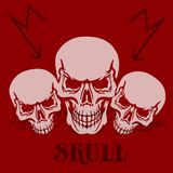 Έμβλημα σε ένα κόκκινο υπόβαθρο Τρία γκρίζα κρανία, σκιαγραφία με το SH διανυσματική απεικόνιση