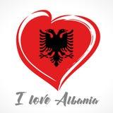 Έμβλημα σημαιών της Αλβανίας αγάπης που χρωματίζεται Στοκ φωτογραφίες με δικαίωμα ελεύθερης χρήσης