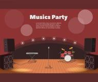 Έμβλημα σκηνών και κομμάτων μουσικών απεικόνιση της σκηνής με τα όργανα και το έμβλημα κομμάτων μουσικής Στοκ φωτογραφία με δικαίωμα ελεύθερης χρήσης
