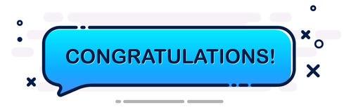 Έμβλημα συγχαρητηρίων με την μπλε λεκτική φυσαλίδα κινούμενων σχεδίων διανυσματική απεικόνιση