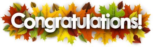 Έμβλημα συγχαρητηρίων φθινοπώρου με τα φύλλα απεικόνιση αποθεμάτων