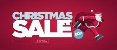 Έμβλημα σχεδίου έννοιας πώλησης Χριστουγέννων στοκ εικόνα