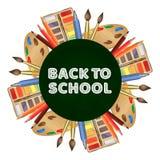Έμβλημα σχολικών διανυσματικό πινάκων κιμωλίας με τις ρεαλιστικές βούρτσες, χρώμα, μολύβια απεικόνιση αποθεμάτων