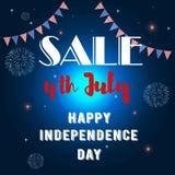Έμβλημα της ημέρας της ανεξαρτησίας 4ο του Ιουλίου απεικόνιση αποθεμάτων