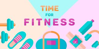Έμβλημα του χρόνου για την ικανότητα: προσωπικός λεωφορείο, αθλητισμός και διατροφή Διάνυσμα στο επίπεδο ύφος στοκ εικόνα