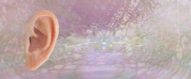 Έμβλημα υποβάθρου ανατομίας αυτιών ελεύθερη απεικόνιση δικαιώματος
