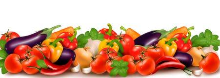 Έμβλημα φιαγμένο από φρέσκα ζωηρόχρωμα λαχανικά απεικόνιση αποθεμάτων