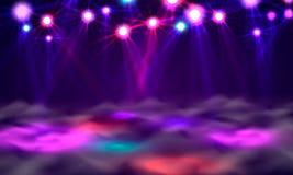 Έμβλημα, φως και καπνός πιστών χορού στη σκηνή διανυσματική απεικόνιση