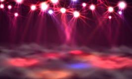 Έμβλημα, φως και καπνός πιστών χορού στη σκηνή απεικόνιση αποθεμάτων