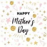 Έμβλημα χαιρετισμού ημέρας μητέρων Αγάπη κειμένων εσείς mom Ρομαντικά διανυσματικά χρυσά ρόδινα χρώματα τυπωμένων υλών προτύπων δ Στοκ Φωτογραφία