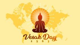 Έμβλημα χαιρετισμού ημέρας Vesak με το βουδιστικό υπόβαθρο χαρτών σκιαγραφιών και κόσμων απεικόνιση αποθεμάτων