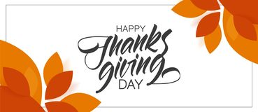 Έμβλημα χαιρετισμού φθινοπώρου με τη σύνθεση εγγραφής χεριών των ευτυχών φύλλων ημέρας των ευχαριστιών και πτώσης στο άσπρο υπόβα διανυσματική απεικόνιση