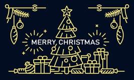 Έμβλημα Χαρούμενα Χριστούγεννας, ύφος περιλήψεων ελεύθερη απεικόνιση δικαιώματος