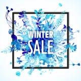 Έμβλημα χειμερινής πώλησης με την μπλε ανθοδέσμη watercolor - φύλλα και λουλούδια διανυσματική απεικόνιση