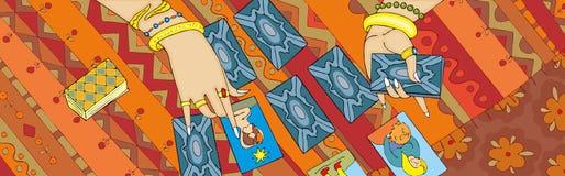 Έμβλημα χεριών ανάγνωσης καρτών Tarot Στοκ Εικόνα