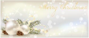 Έμβλημα Χριστουγέννων με τη διακόσμηση Στοκ Εικόνες