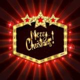 Έμβλημα Χριστουγέννων με τις λάμπες φωτός ελεύθερη απεικόνιση δικαιώματος
